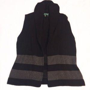 Ralph Lauren   Foldover Striped Sweater Vest